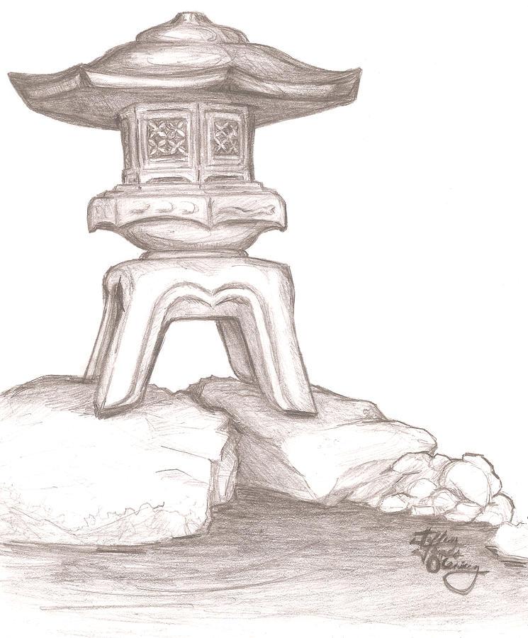745x900 Stone Lantern Drawing By Jeffrey Oleniacz