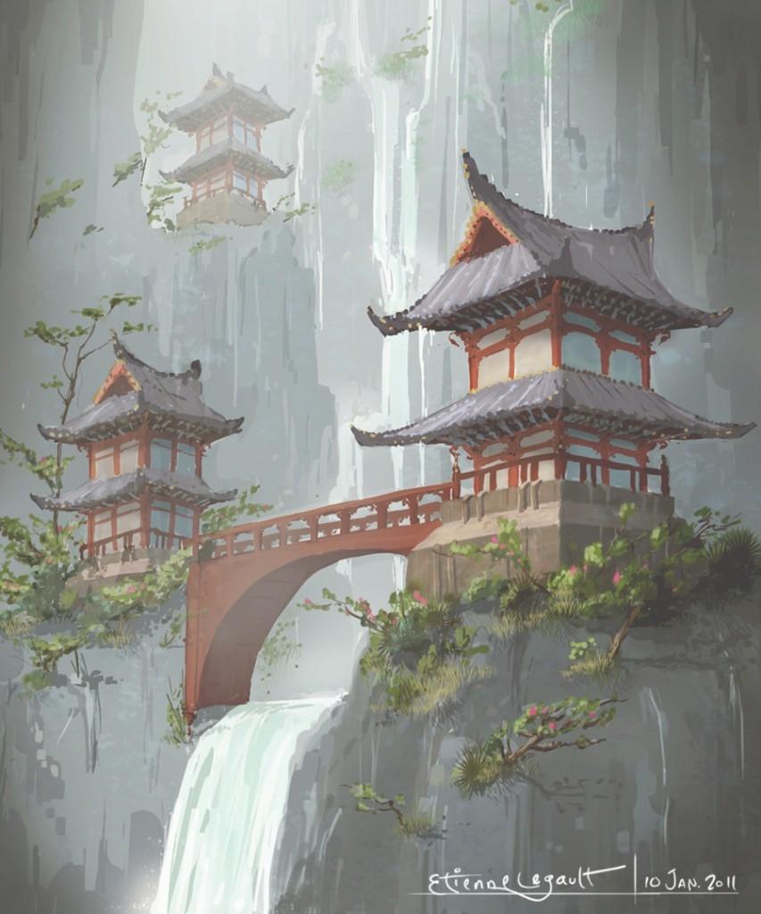 853x1024 Unique Japanese Landscape Drawing