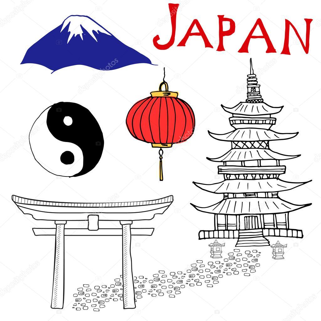 1024x1024 Japan Doodles Elements. Hand Drawn Set With Fujiyama Mountain