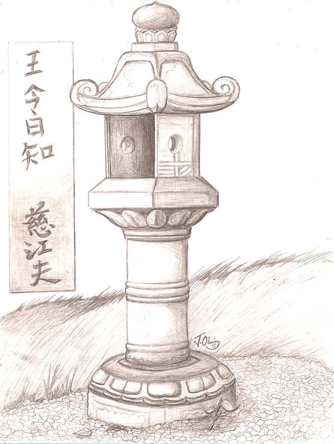 678x900 Stone Lantern Ii Drawing By Jeffrey Oleniacz