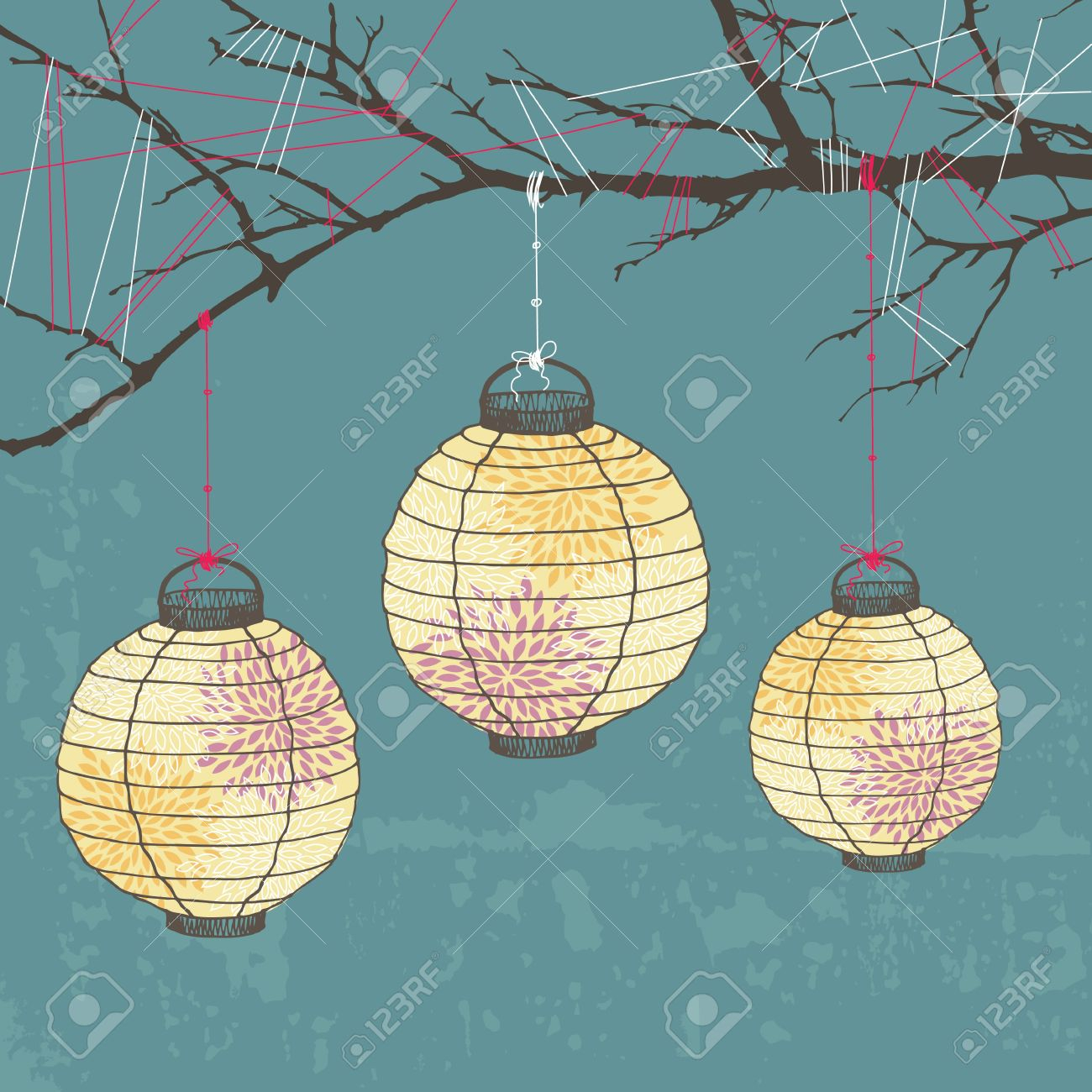 1300x1300 Three Paper Lanterns Hanging On Tree Branch Royalty Free Cliparts