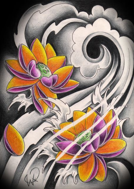 456x642 Attractive Two Japanese Lotus Flowers Tattoo Design Tattoos