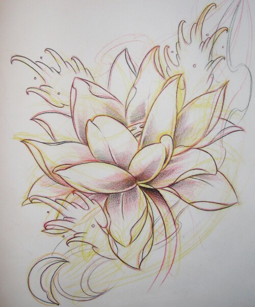 500x603 Lotus Outlined Mother Daughter Tattoos Outlines
