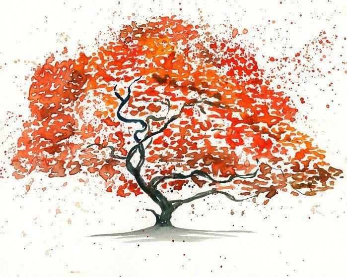 699x559 Japanese Maple Tree Landscape Paintingwatercolororange By Ireart