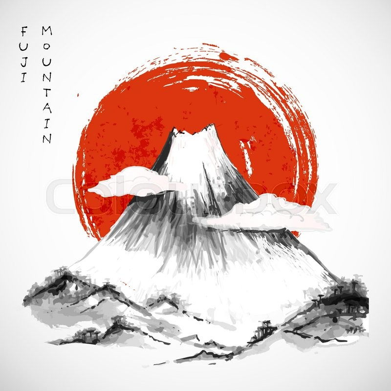 800x800 Fujiyama Mountain And Big Red Sun. Symbol Of Japan. Traditional