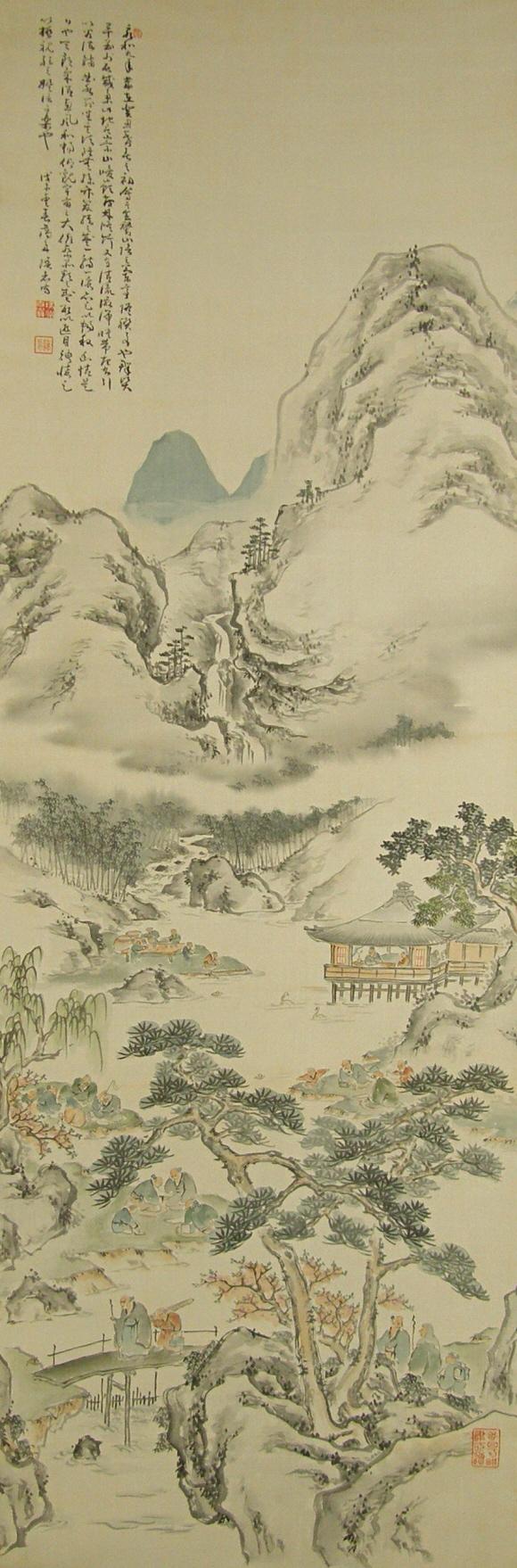 580x1758 Ss 10184 [ Pleasance Of Sages ] Japanese Vintage Landscape