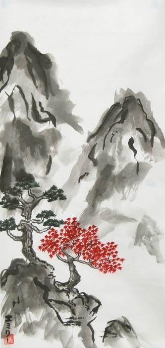 333x700 Sumi E Mountain By Lunael East Asian Painting, Sumi E Amp Similar