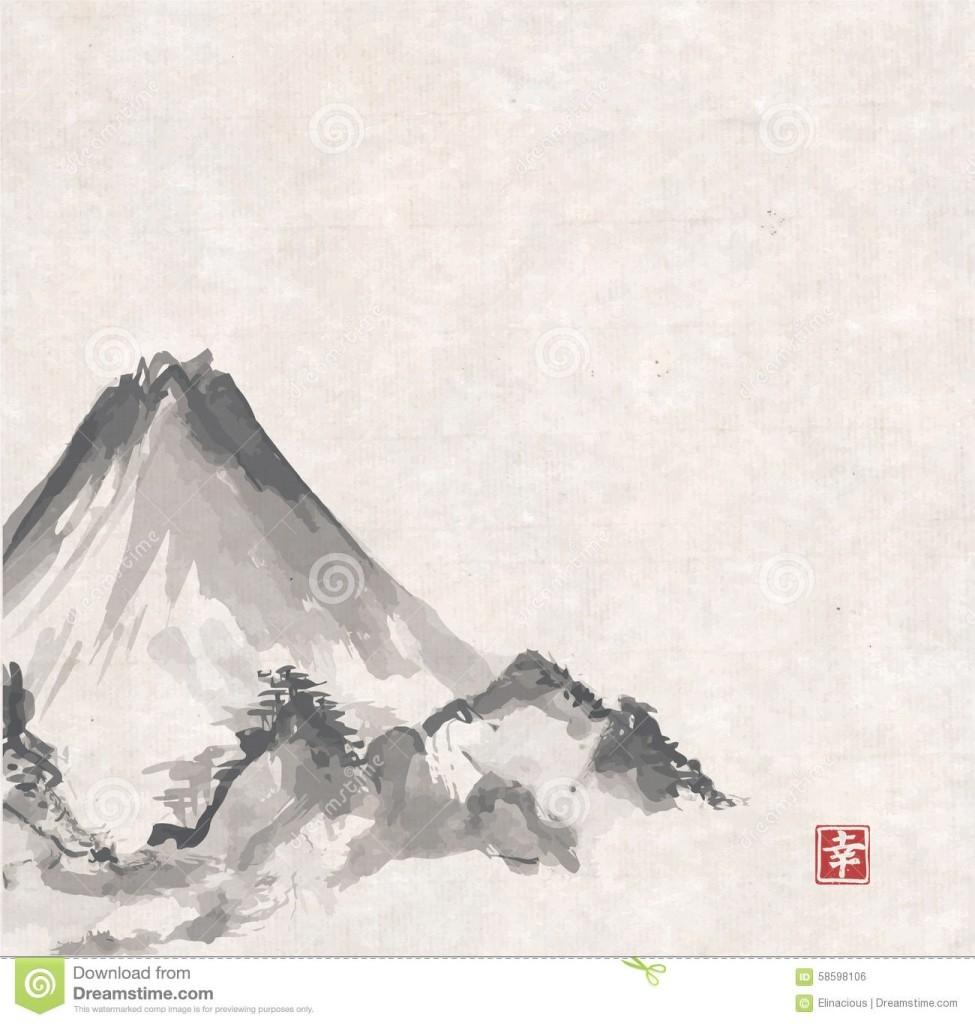 975x1024 Unique Japanese Landscape Drawing