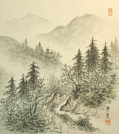 400x450 Vintage Japanese Shikishi Art Print Landscape Sumi E Vintage