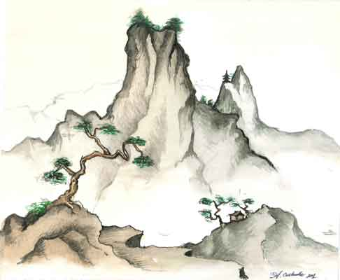486x400 Japanese Landscape Drawing Content