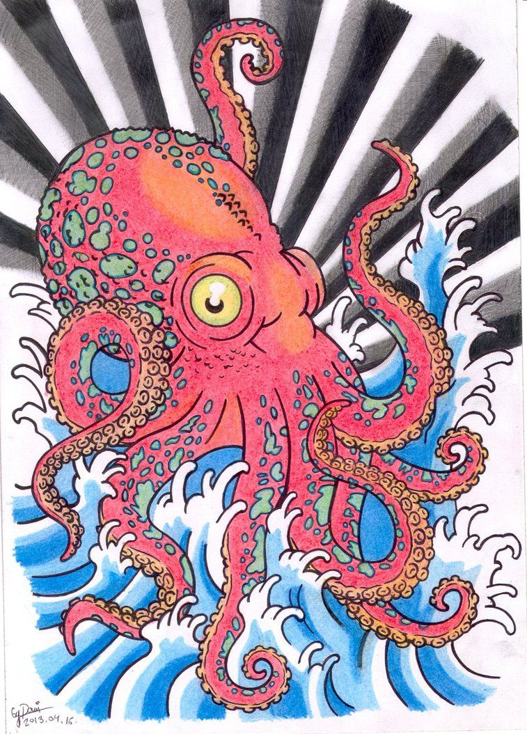 757x1054 A Big Red Octopus Tattoo Design, In Japanese Style. Tato