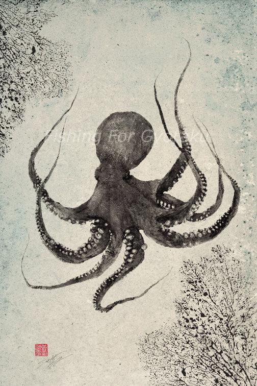504x756 Floating Octopus Gyotaku Print Traditional Japanese Fish Art