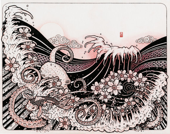 570x450 Waves 02 Japanese Tattoo Style Drawing Waves Octopus By Bluefuze