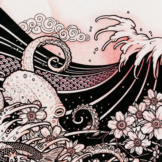 570x570 Waves 02 Japanese Tattoo Style Original Sketch Drawing