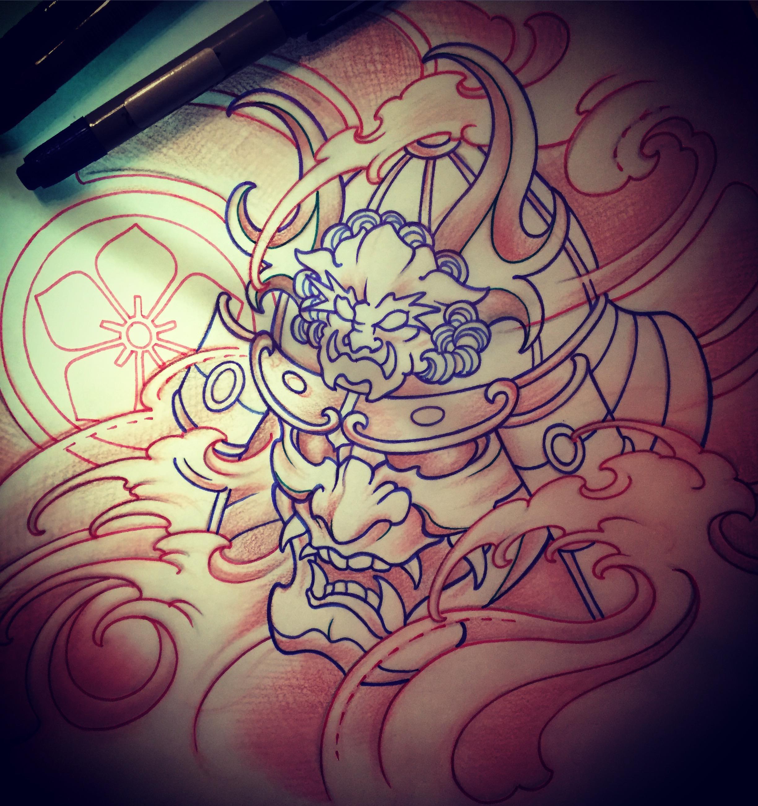 2448x2602 Amsterdam Tattoo 1825 Kimihito Samurai Mask Tattoo Design
