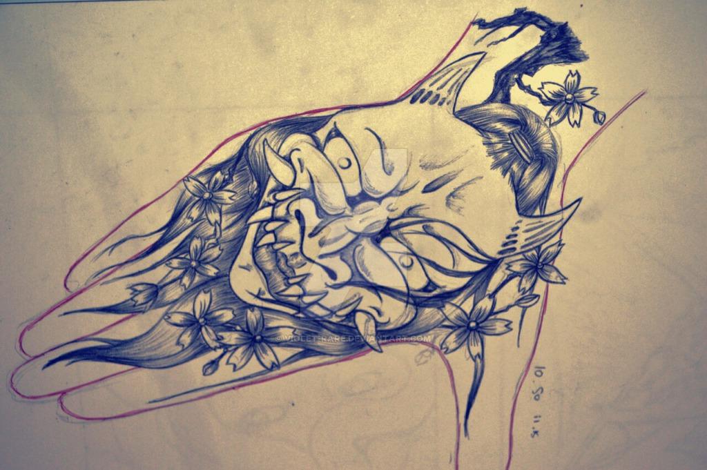 1024x681 Hannya Mask Hand Tattoo Design By Violet Rare