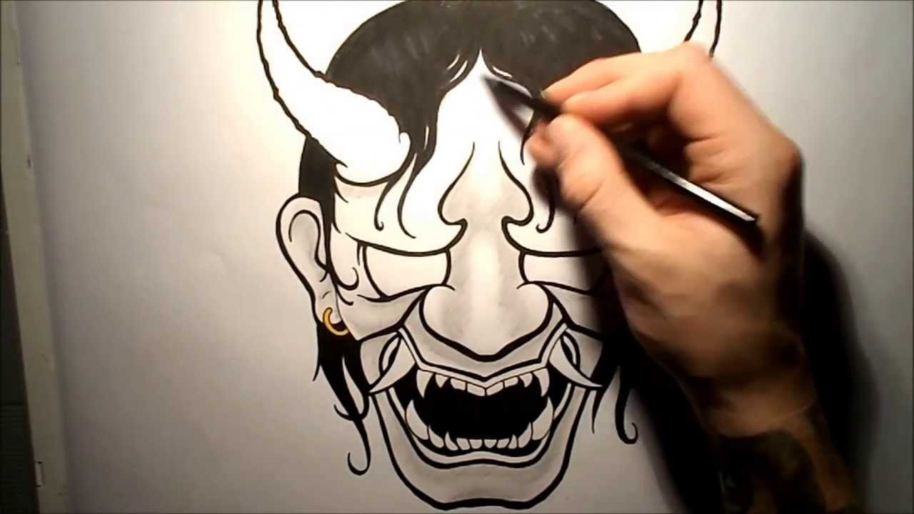 1280x720 How To Draw A Hannya Mask Oni
