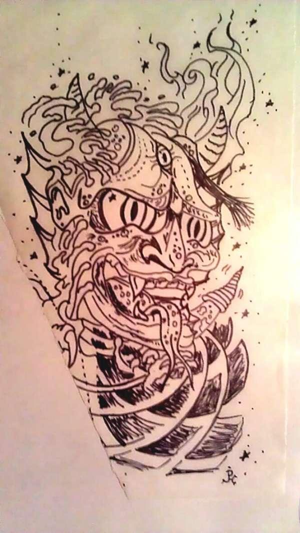 600x1067 Japanese Oni Mask W Sailor Jerry Infleuence Tattoo, Trickstattoo