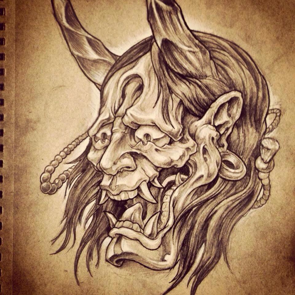 960x960 Oni Mask Drawing