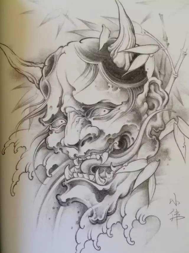 640x854 Hannya Mask Drawing