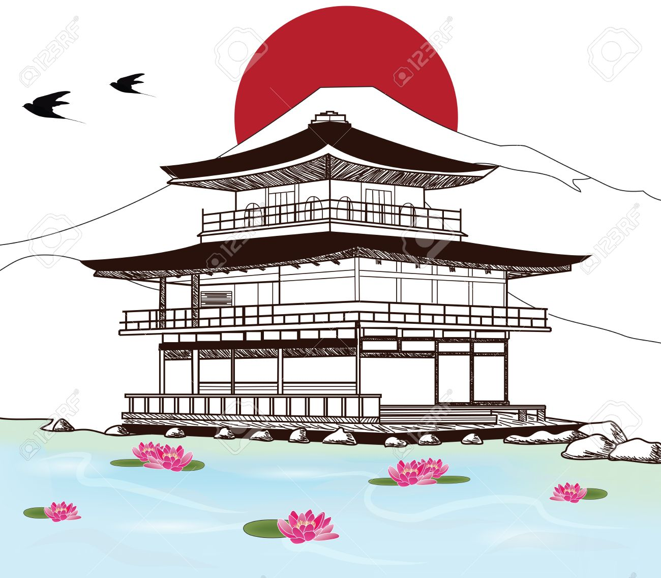 1300x1137 Sketch Of A Beautiful Japanese Pagoda Royalty Free Cliparts