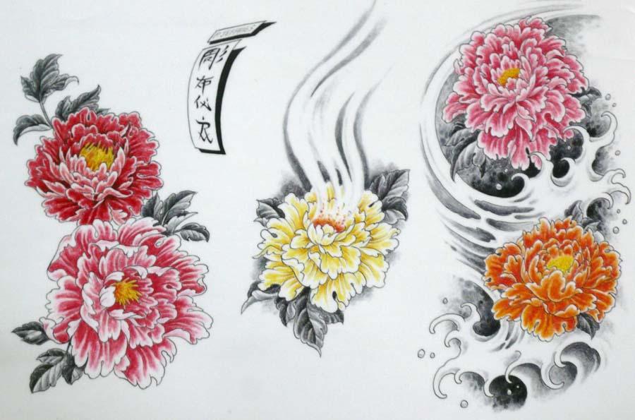 900x595 Colorful Japanese Peony Flowers Tattoo Design