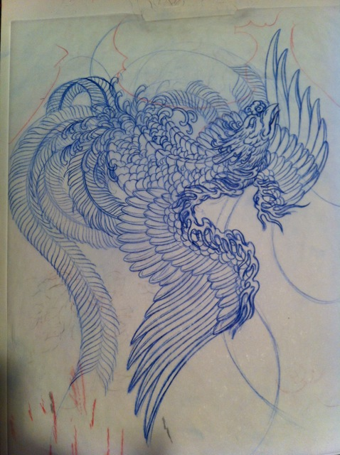 478x640 True Nature Tattoo Phoenix Drawing