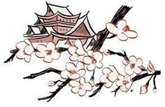 236x153 Background With Fans, Mountain And Japanese Cherry Tree Sakura