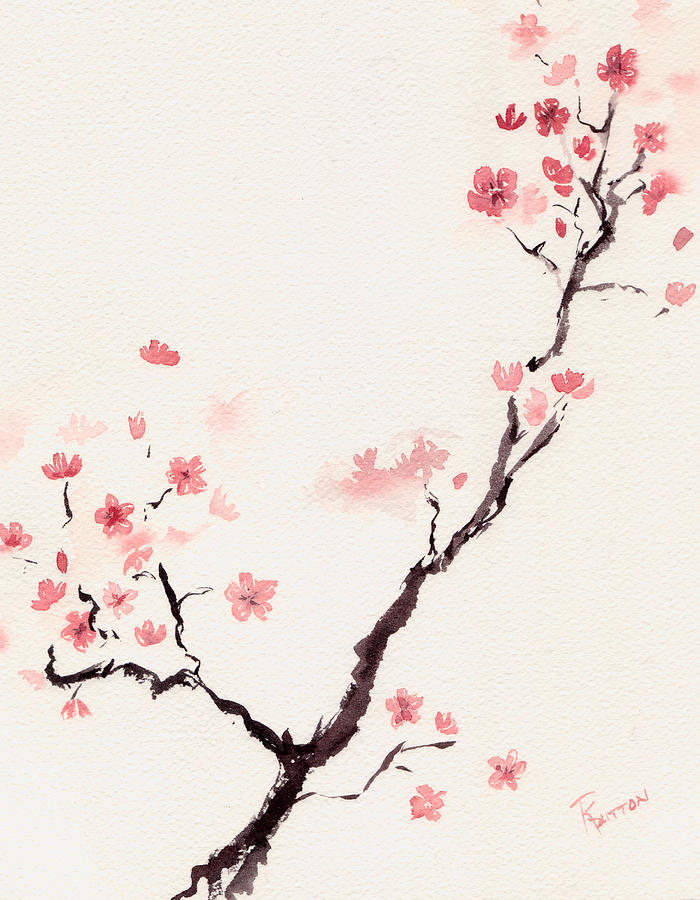 700x900 Cherry Blossom 3 Painting By Rachel Dutton