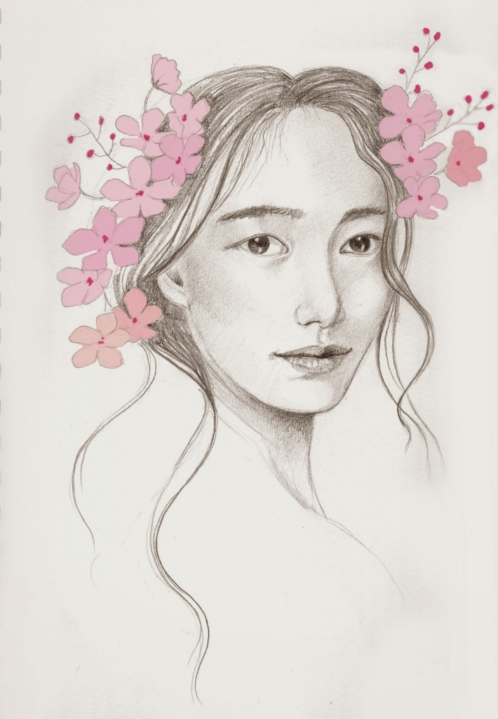 710x1024 Japanese Pencil Drawings Rebecca39s Realm Japanese Cherry Blossoms