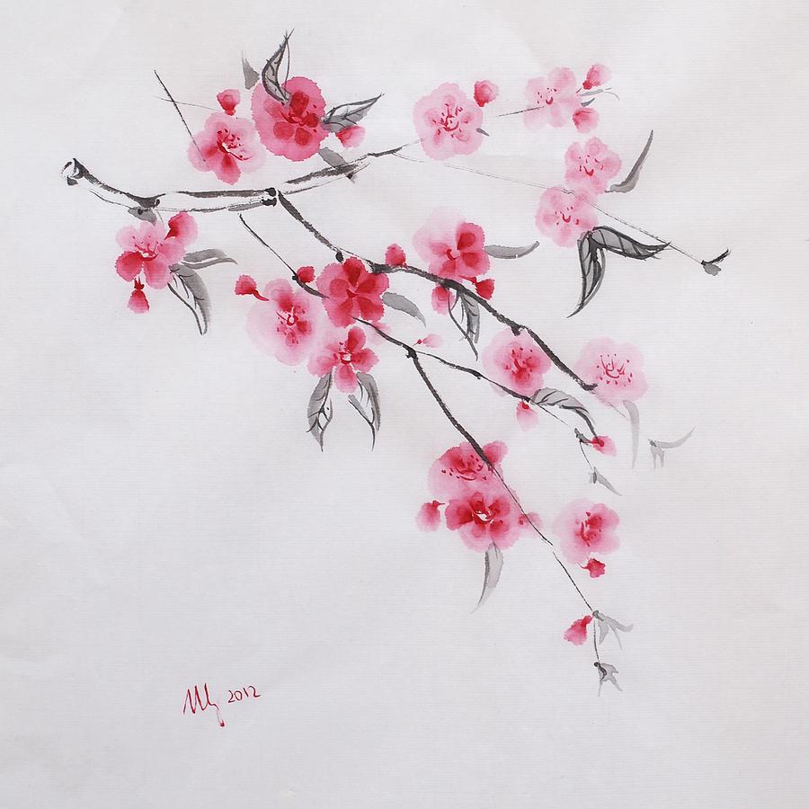 900x900 Sakura Drawing By Natalia Stangrit