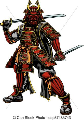 330x470 An Illustration Of A Japanese Samurai Warrior Standing And Eps