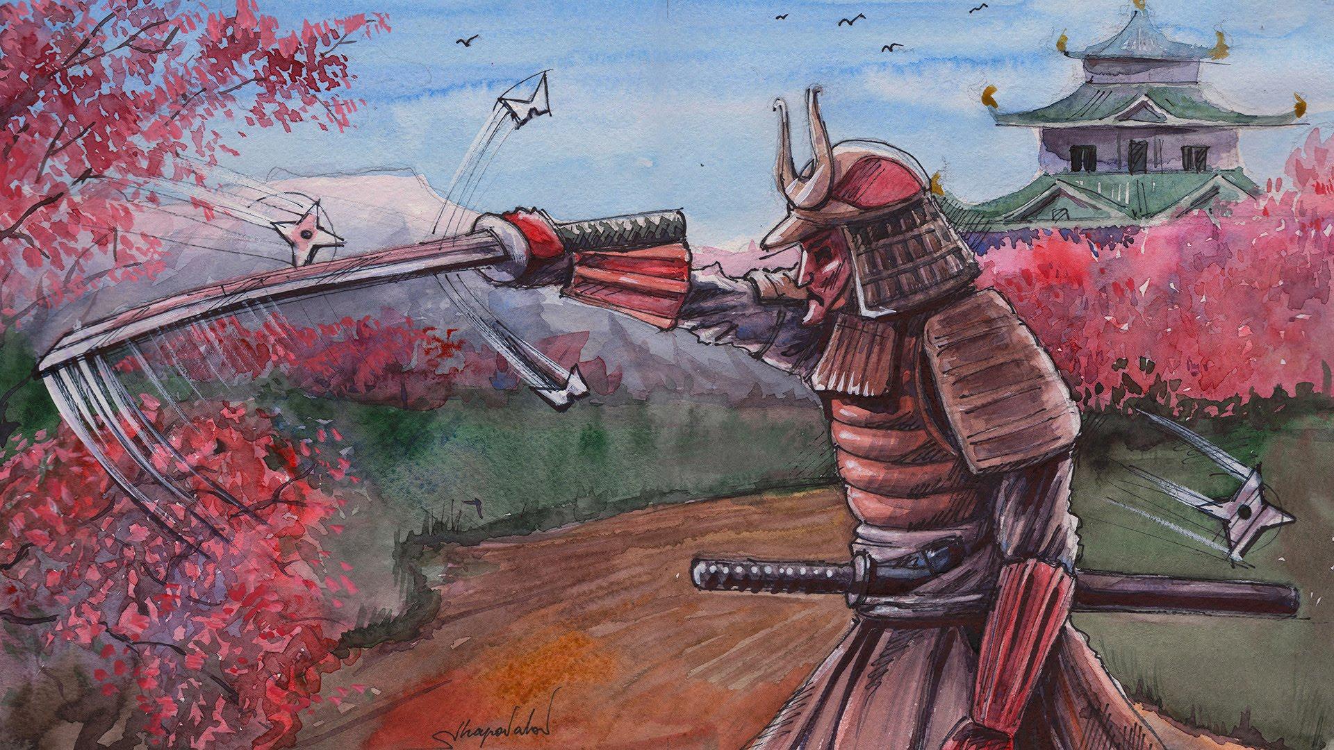 1920x1080 Drawing Time Lapse Samurai Japan By Watercolor