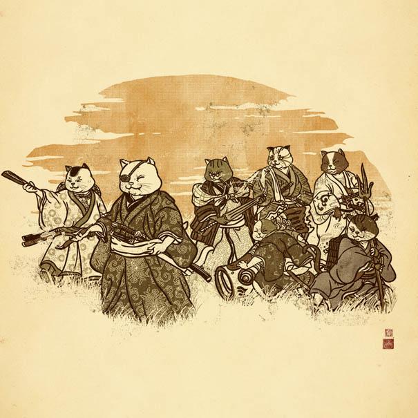 605x605 I Draw Samurai Cat Illustrations Bored Panda