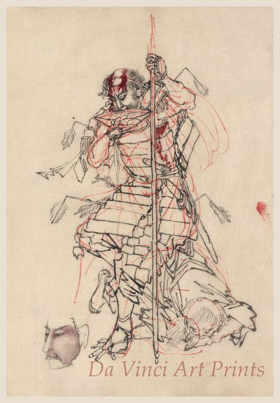 570x820 Japanese Art. Samurai Drawing Reproductions. A Samurai