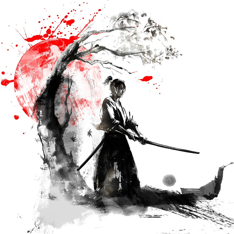 800x800 Japanese Samurai Posters By Conpassione Redbubble