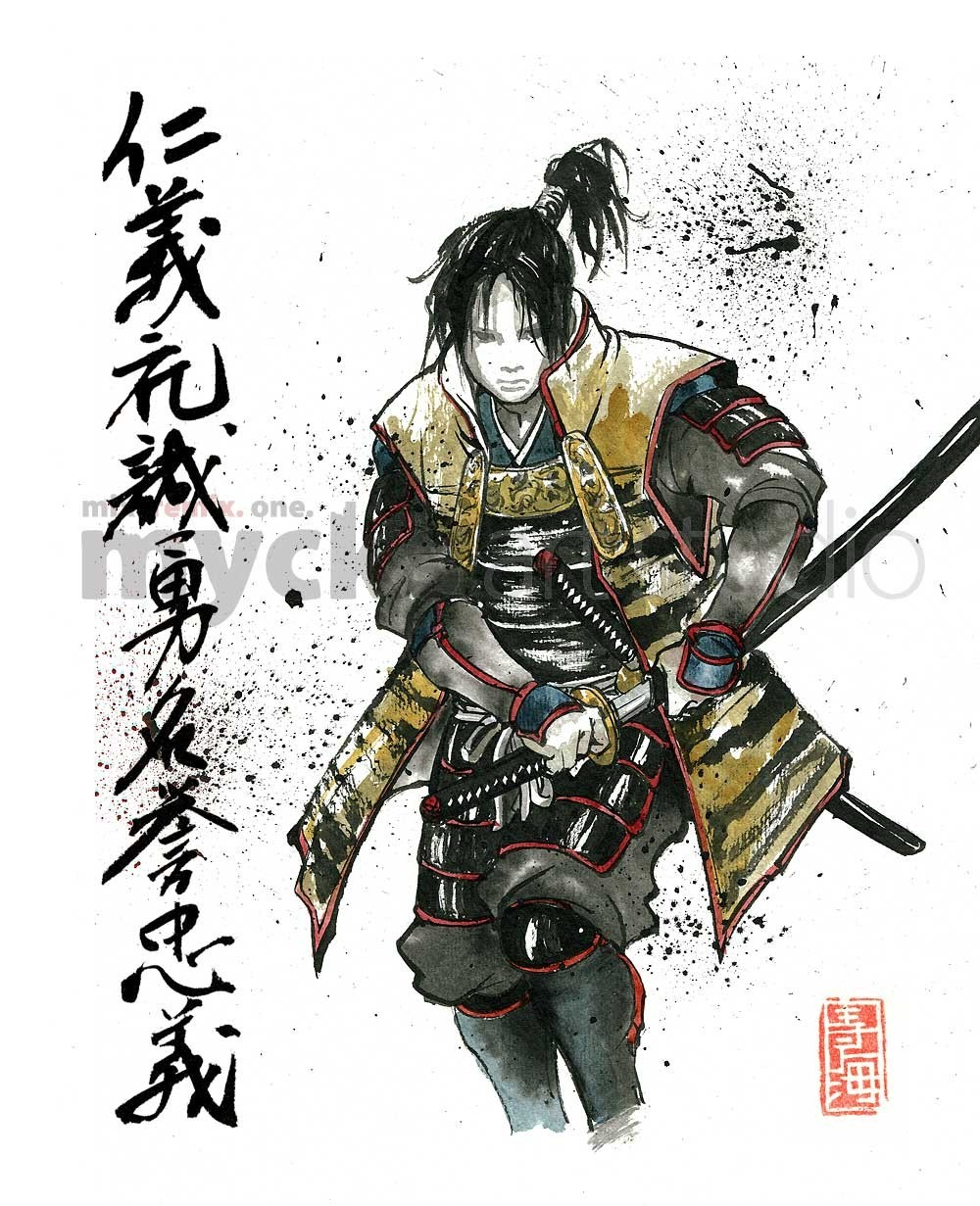 1000x1231 Print Samurai Drawing Sword With Japanese Calligraphy 7 Virtues
