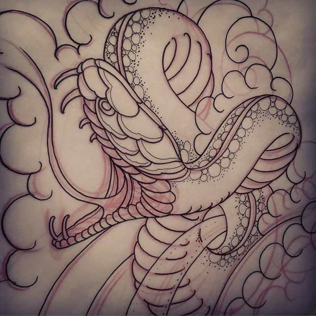 640x640 Classic Black Japanese Snake Tattoo Design