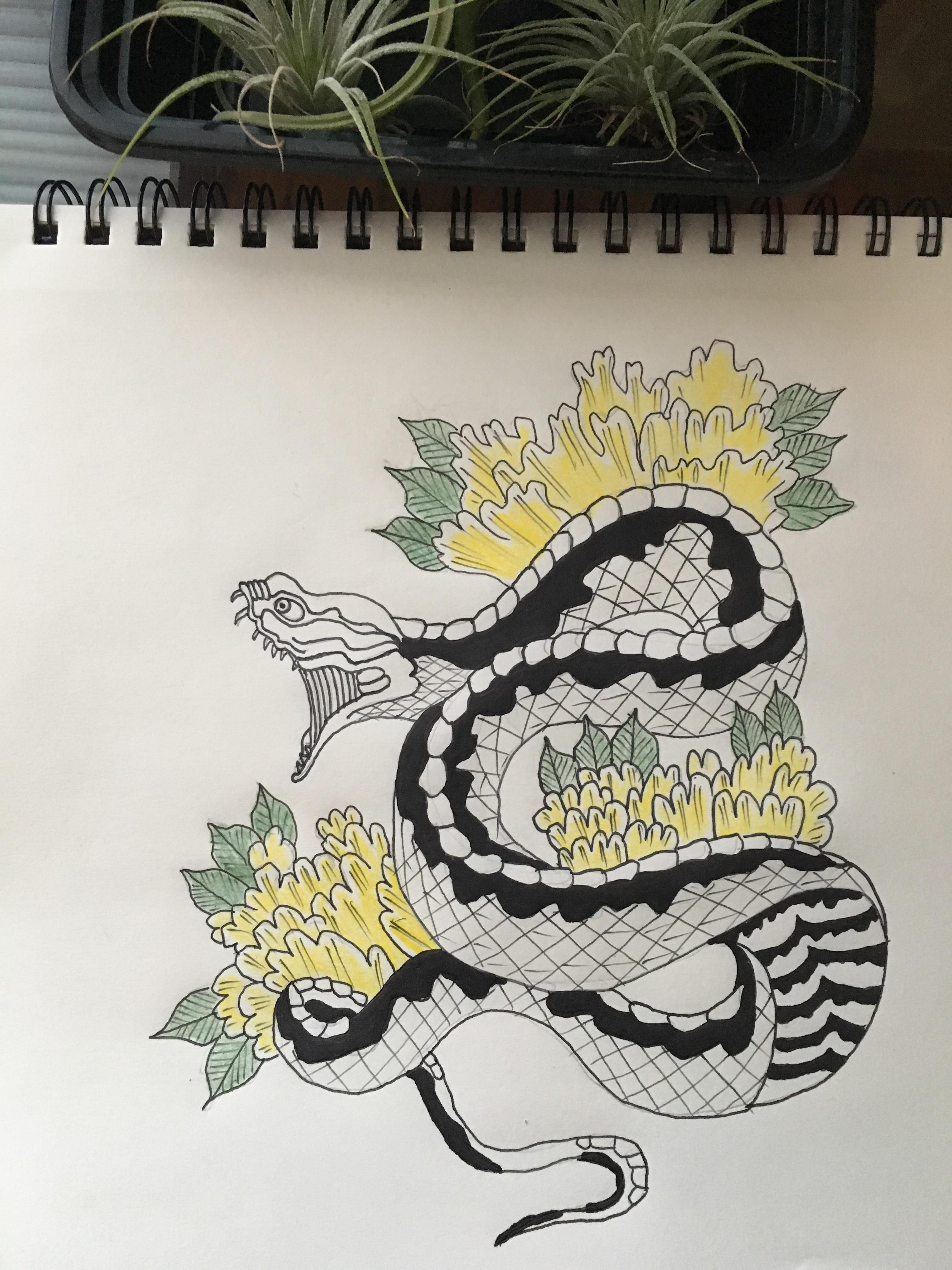 3024x4032 Japanese Style Snake And Flowers (I.redd.it) Submitted By Burgers