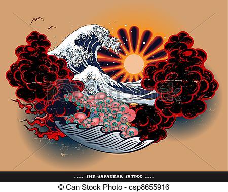 450x379 Japanese Tattoo Landscape. Tattoo Style Japanese Landscape Clip