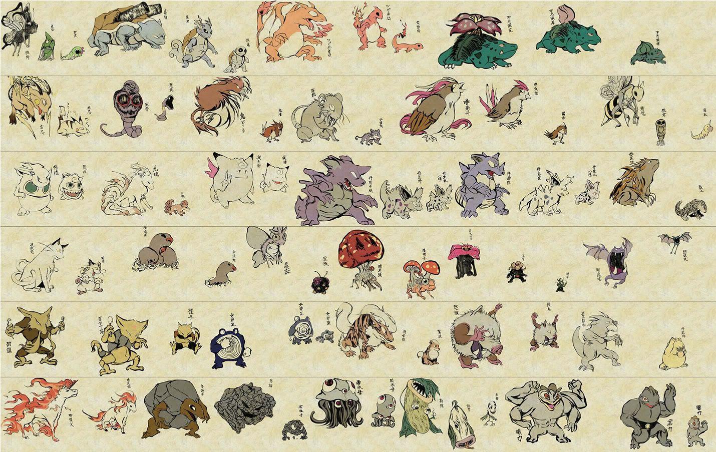 1430x903 Traditional Japanese Style Pokemon Art Drawing Pickachu Charmander