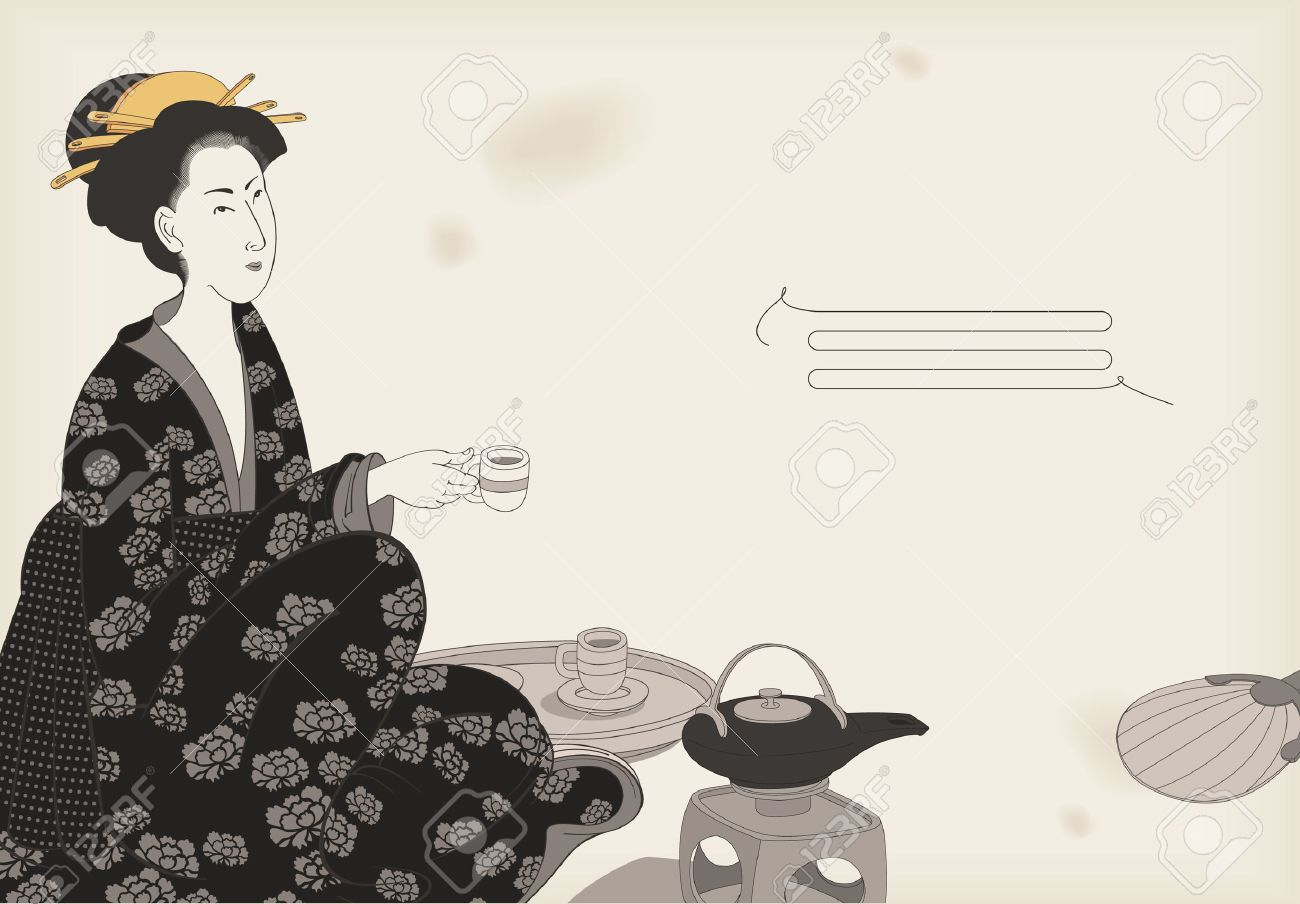 1300x904 Woman Drinking Tea Japanese Style Drawing Royalty Free Cliparts