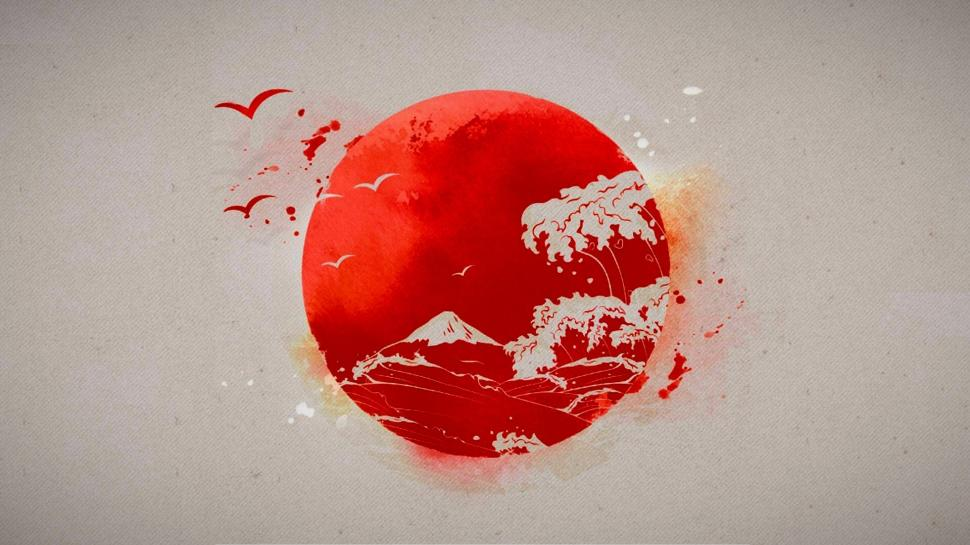 970x545 Japanese, Sun, Drawing Wallpaper Art And Paintings Wallpaper
