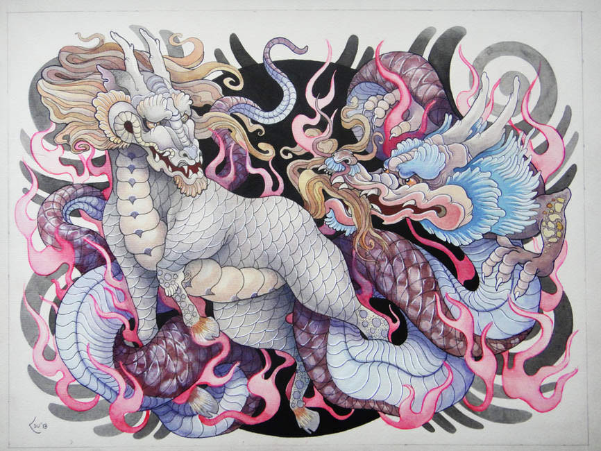 866x650 A Japanese Kirin And Dragon Interact In This Bold Tattoo Drawing