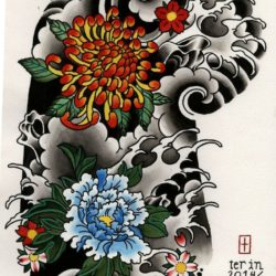 250x250 Japanese Tattoo Drawing, Pencil, Sketch, Colorful, Realistic Art