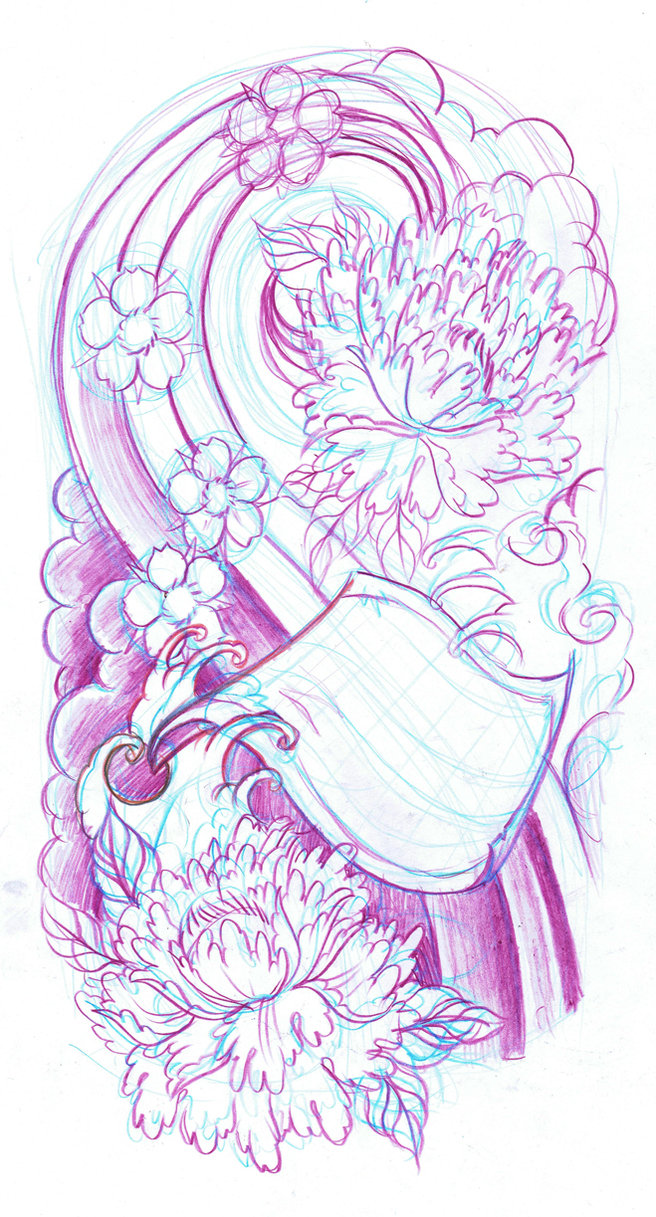 656x1217 Japanese Sleeve Sketch By Wildthingstattoo