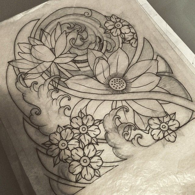 640x640 Japanese Flower Cloud Butterfly Line Drawing Tattoo
