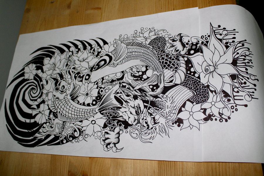 900x599 Japanese Wave Drawing Traditional Japanese Tattoo. By
