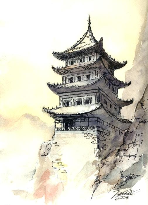 506x700 Japanese Temple Drawing Lonely Pagoda Temple By Media