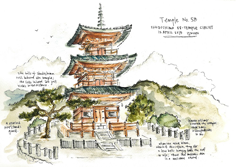1000x707 Sketching Japan Temples And Tiered Roofs On A Japanese Pilgrimage